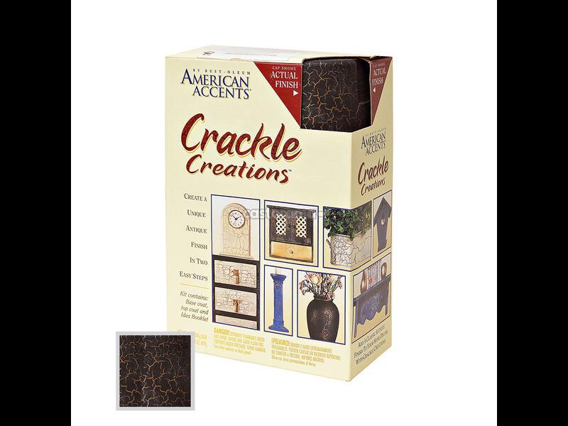 Декоративная краска American Accents Crackle Creations Эффект Трещин чёрный на золоте